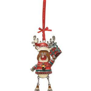 Decoratiune Craciun metalica in cutie eleganta-Ren cu daruri