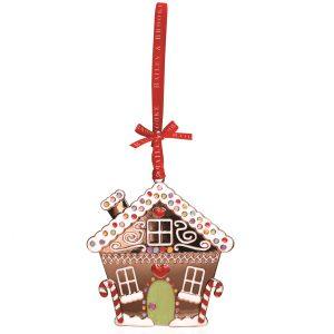 Decoratiune Craciun metalica in cutie eleganta-Casuta turta dulce