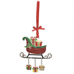 Decoratiune Craciun metalica in cutie eleganta-Saniuta cu daruri