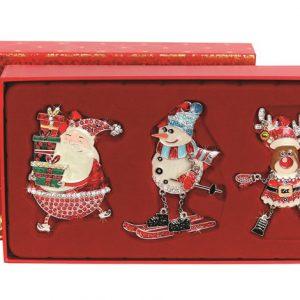 Set alcatuit din 3 decoratiuni din metal, vesel colorate, decorate cu cristale si glitter: Mos Craciun, Omulet de zapada, Renul Mosului