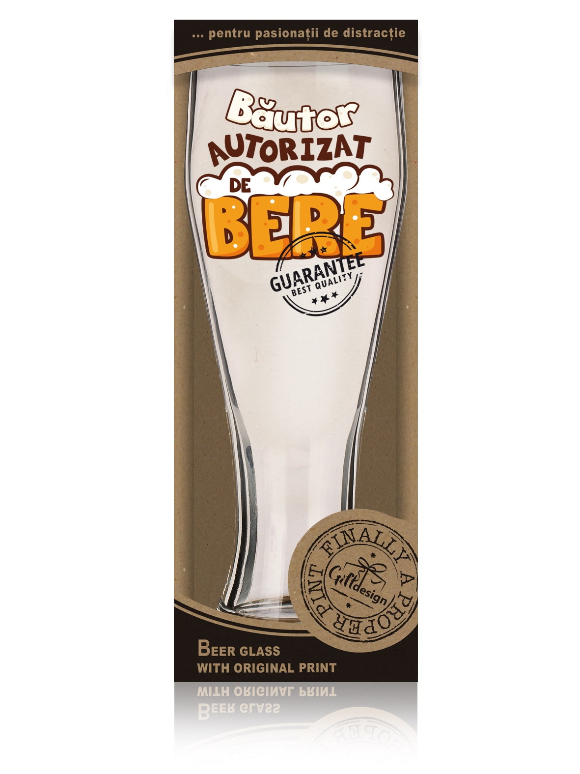 """Cutie pahar de bere """"Bautor autorizat de bere""""."""