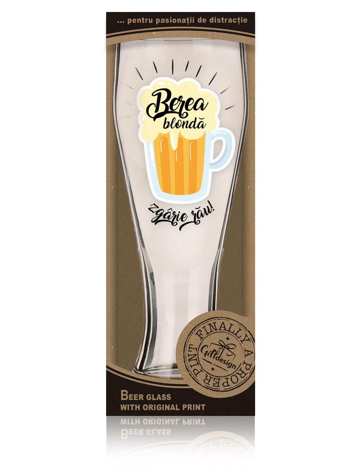"""Cutie pahar de bere """"Berea blonda zgaraie rau""""."""