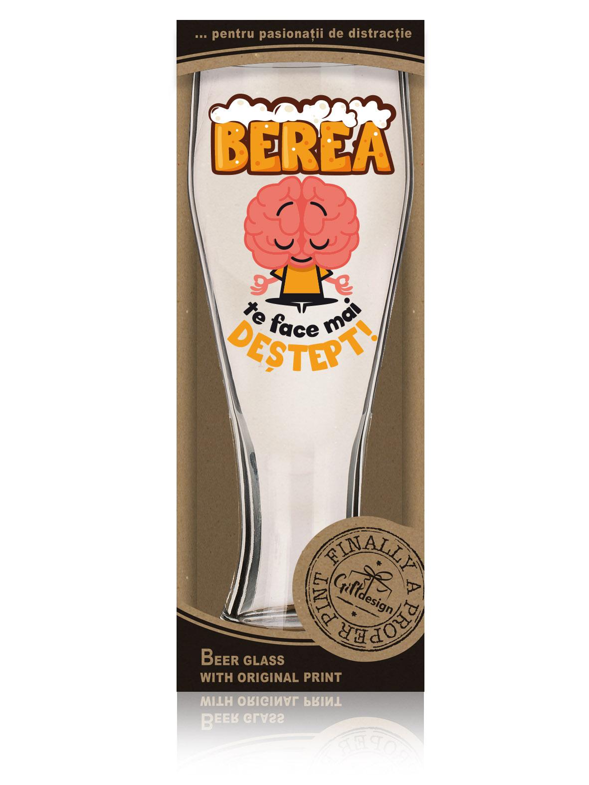 """Cutie pahar de bere """"Berea te face mai destept!""""."""