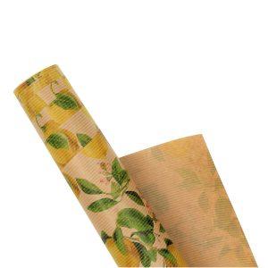 Hartie pentru ambalat cadouri Kraft Vintage 200x70 cm lemons