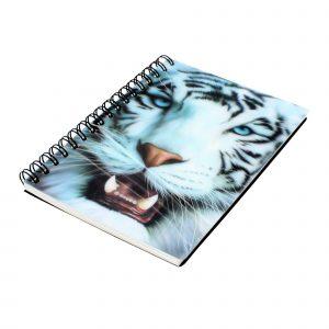 Carnetel zoo cu spirala 3D White Tiger Face