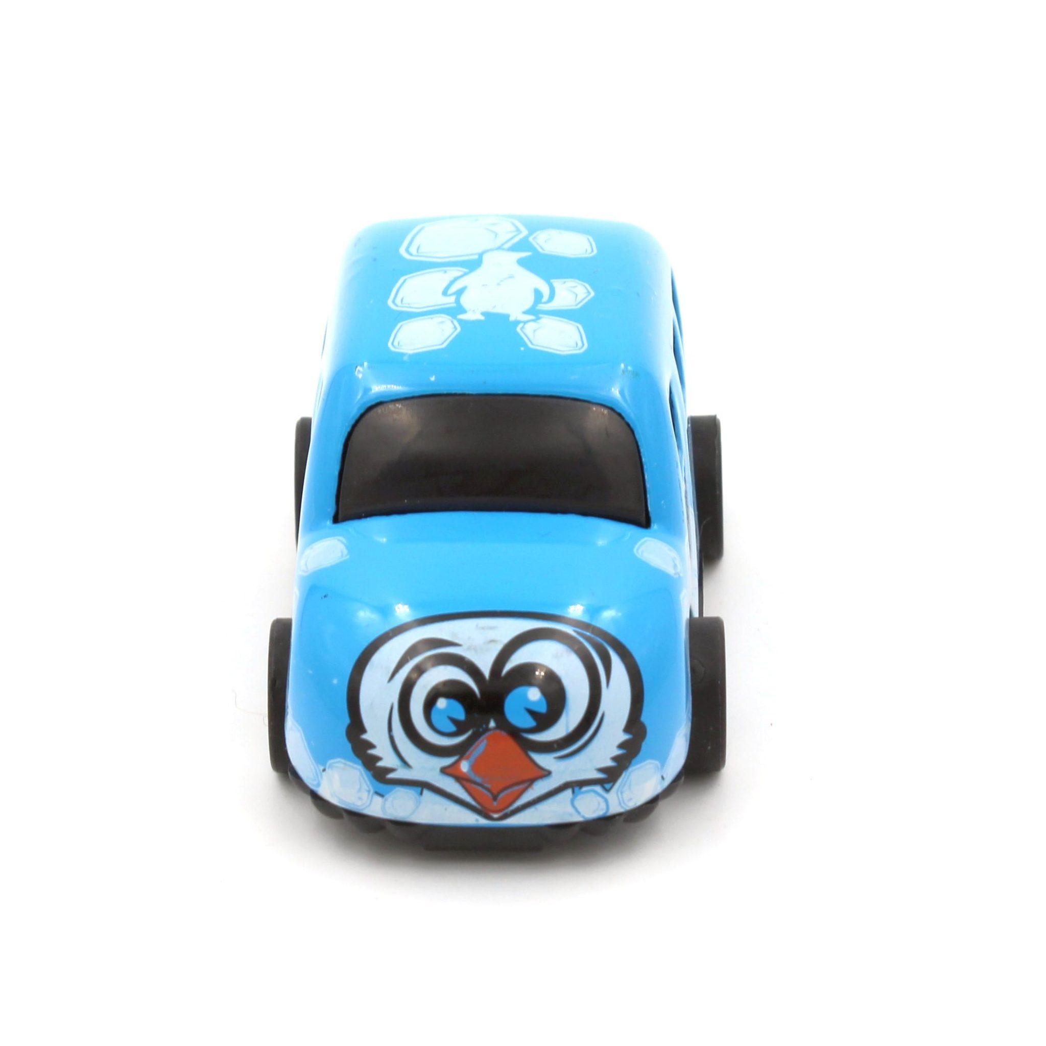 Mașinuță cu sistem pull-back pinguin albastru