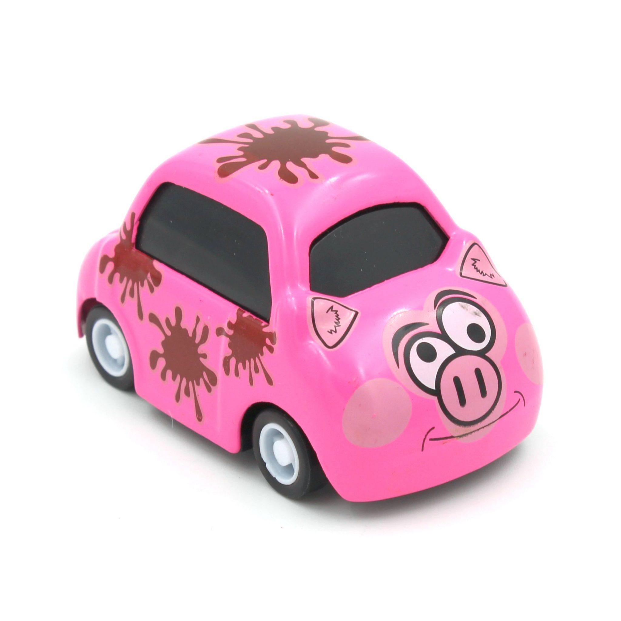 Mașinuță cu sistem pull-back purcelus roz