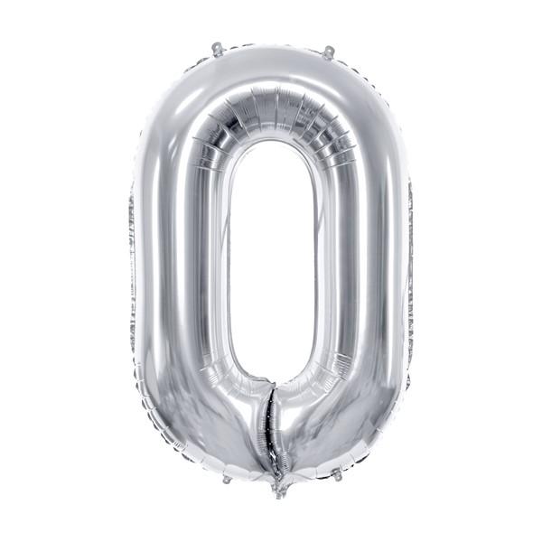 Balon party cifra 0 argintiu 35cm