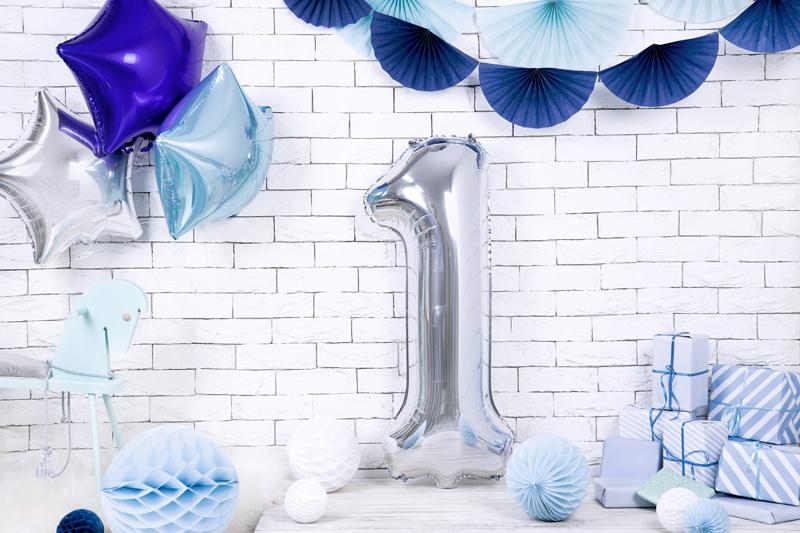 Balon party cifra 1 argintiu 35cm