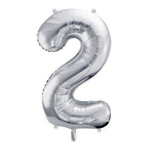 Balon party cifra 2 argintiu 35cm