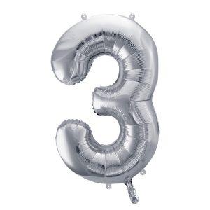 Balon party cifra 3 argintiu 35cm