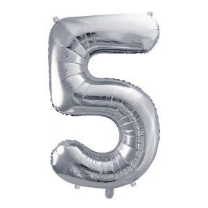 Balon party cifra 5 argintiu 35cm