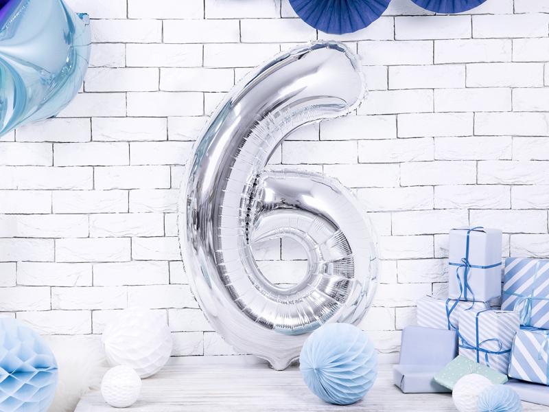 Balon party cifra 6 argintiu 35cm