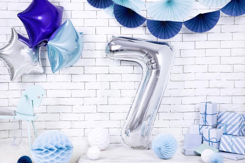 Balon party cifra 7 argintiu 35cm