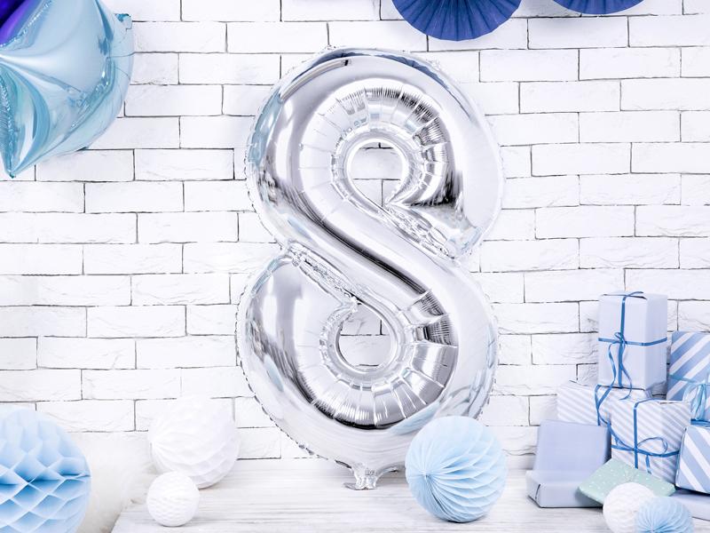 Balon party cifra 8 argintiu 35cm