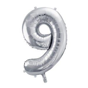 Balon party cifra 9 argintiu 35cm