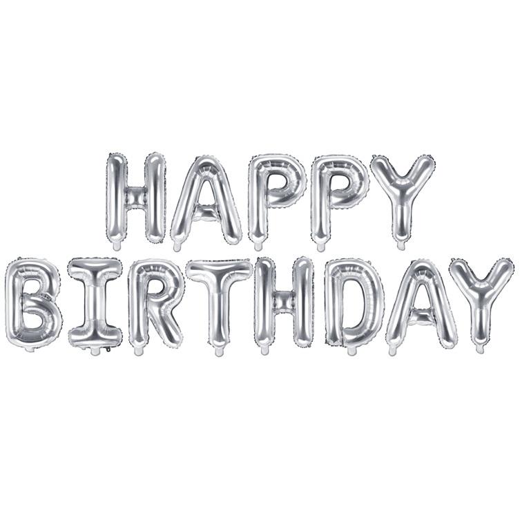 Balon party Happy Birthday argintiu 340x35cm