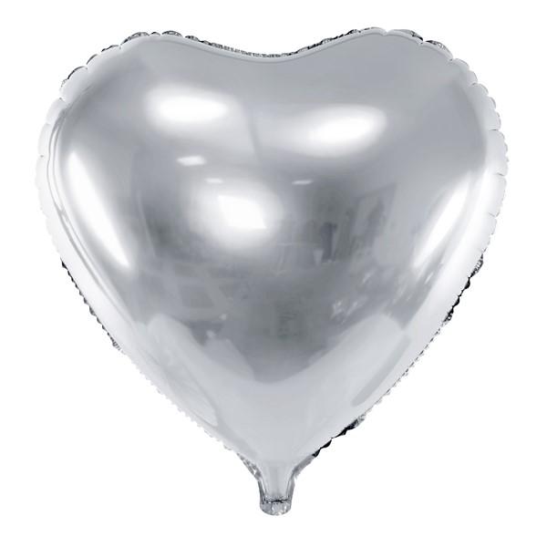 Balon party inima argintie 45 cm