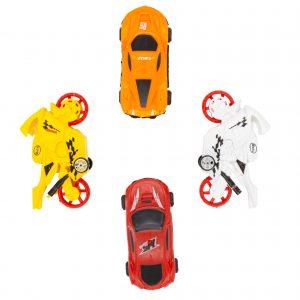 Set vehicule motociclete si masinute jucarie 4 buc V4