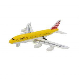 Avion de jucarie cu sistem pull-back galben